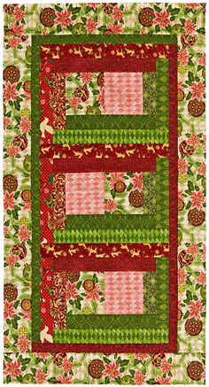 It's never too early to start making Christmas presents. To create this table runner, sew together three blocks using a Log Cabin variation and add  borders.