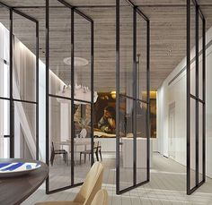 Nave Tower penthouse Interior Design with Inspirational Art Deco Steel Windows, Steel Doors, Windows And Doors, Wood Doors, Pivot Doors, Internal Doors, Sliding Doors, Ideas Terraza, Double Vitrage