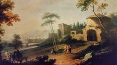 VITTORIO AMEDEO CIGNAROLI ( Torino 1730 -1800 ). PAESAGGIO CON VIANDANTI E CASALE ANTICO. 1780 / 1790. oil on canvas. 77 × 100 cm. Bibliografia : Inedito. Provenance : acquired by Sanpaolo from mercato antiquario. Collezioni d ' arte del Sanpaolo. Inv. No. 410038.