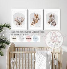 WATERCOLOR BABY SAFARI ANIMAL PORTRAIT PRINTS - A3 PRINT MOUNTED -A2 FRAME / 4