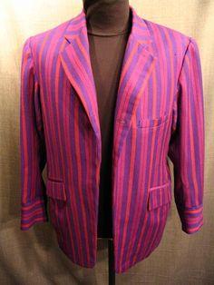 Suit Men's 1912, purple magenta stripe wool