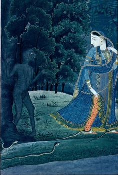 Krishna-Abhisarika Nayika meets a witch and snakes on the way to meeting her lover. Detail from an early 19th century Indian miniature painting. Period: Rajput, Pahari, Kangra school. Ink and color on paper.