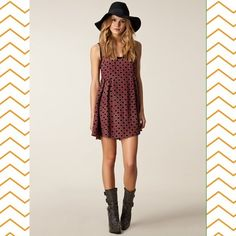 Free People Molly's Dot Swing Dress Dotted swing mini dress in Sangria Red and black with pleated detailing around waistline. Zips up the back. Good used condition. Runs small. Comment with any questions. trades. Free People Dresses Mini