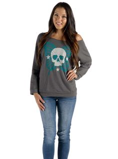 """Women's """"Derby"""" Boat Neck Pullover by Angry Blossom (Charcoal)"""