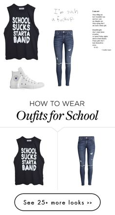 """School"" by karlieisapenguin on Polyvore featuring moda, H&M y Converse"