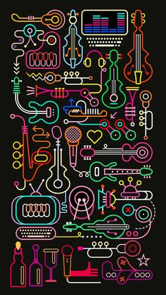 Neon colors on a black background Music Shop vector illustration. Vector High resolution JPEG and PDF files included. Vector file can be scaled to any size without loss of resolution and you will be able to change any color or detail of this image easily. Graffiti Wallpaper, Music Wallpaper, Graphic Wallpaper, Wallpaper Wallpapers, Musik Illustration, Color Vector, Vector Design, Design Design, Neon Colors