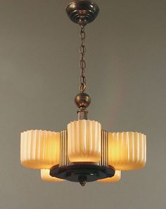 American Art Deco and Moderne Slip Shade and other Chandeliers; Ceiling Fixtures by Lightolier, Markel, Lincoln, Beardslee, M.P.E., others...
