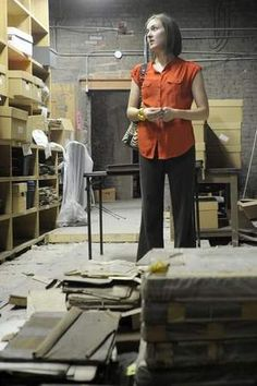 Records Manager Katy Klettlinger stands in one of the Licking County Courthouse attic rooms that once stored records for the county. The rec. Records Management, Attic Rooms, Public, Business, Collection, Attic, Store, Business Illustration