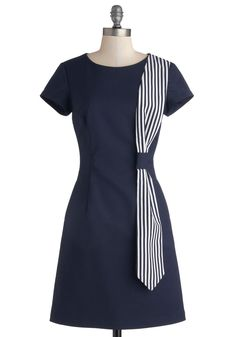Tie It Together Dress. Youve laid out your patent mint heels and settled on the perfect pearl studs - now all you need to complete your look is this navy dress from Myrtlewood! Stylish Dress Designs, Stylish Dresses, Simple Dresses, Pretty Dresses, Casual Dresses, Blue Dress Casual, Classy Dress, Navy Dress, White Casual