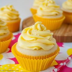 These vanilla cupcakes are moist, light and fluffy with just a hint of coconut flavor. The buttercream is made with fresh mangos and bursting with a tropical