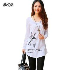 Summer Autumn Women White Tops Women's Long Sleeve Tees 3D Dutch Windmill Print Long T-Shirt 2 style