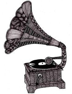 Grammofon - Tovelisa Design #music #draw