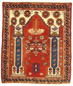 Antique Turkish Bergamo Oriental Rug, circa 1900, Small Square Size (99 cm x 117 cm) with Pillars and Arch.