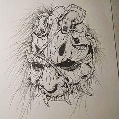 "Andrea - Yomi Tattoo Studio na Instagramie: ""Oni mask . . . #akumababi #yomitattoostudio #inksketch #ink #sketch #sketchbook #sketches #sketching #sketchtattoo #tattoos #tattoo…"" Japanese Mask Tattoo, Japanese Tattoo Designs, Anime Tattoos, Body Art Tattoos, Geisha Tattoos, Irezumi Tattoos, Dragon Tattoos, Tattoo Design Drawings, Tattoo Sketches"