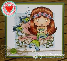From our Design team! Card by Debbie Pamment featuring the Club La-La Land Crafts (August) exclusive Sitting Mermaid Marci and exclusive dies Seaweed Border and Under the Sea set  Club La-La Land Crafts subscription details are here - http://lalalandcrafts.com/Club_La-La_Land_Crafts.html Coloring details and more Design Team inspiration here - http://lalalandcrafts.blogspot.com/