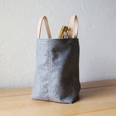 Small Stash Tote in Vintage Gray Wool // Organic by infusion, $25.00