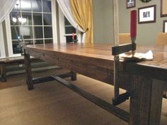 the BEST DIY Farmhouse Table directions with a ton of pictures, really detailed