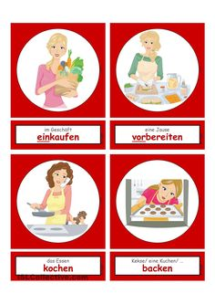 Activities in the household & everyday life 1 _ Flashcards small - German Language Deutsch Language, Germany Language, German Language Learning, Perfect Resume, Learn German, School Lessons, First Grade, Household, Activities