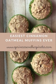 Easiest Cinnamon Oatmeal Muffins Ever – A Princess and Her Pirates - Foods Recipe Protein Muffins, Healthy Muffins, Cinnamon Oatmeal, Cinnamon Muffins, Applesauce Oatmeal Muffins, Carrot Muffins, Oatmeal Pancakes, Egg Muffins, Breakfast Muffins