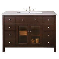 Avanity Lexington 48-inch Single Vanity in Light Espresso (Brown) Finish with Sink and Top (Louis 48 Vanity with Integrated VC Top)