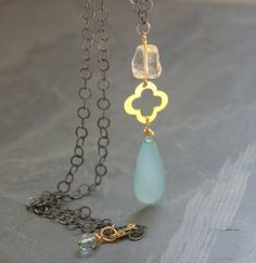 Long Gold Oxidized Silver Clover Necklace, Stone Necklace, Chalcedony Long Pendant Necklace, Aqua Stone, Citrine Stone, Long Black Chain