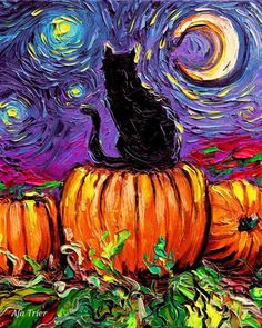 Starry Hallows' Eve spooky 8x10 inch print Starry Night   Etsy