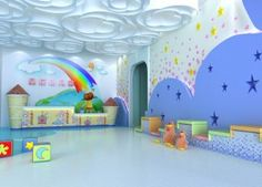 Kindergarten reception hall ceiling and wall design