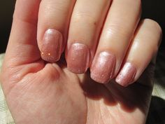 Glamour Queen with a drop of June Bride on the tips. A frosted beigey-pink - very pretty!
