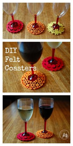 DIY Felt Coasters - These make a great DIY project or an easy gift for housewarming or wedding shower.