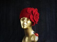 Crochet Flower Hat, Flower Hats, Crochet Winter, Winter Hats For Women, Cloche Hat, Big Flowers, Red Hats, Hippie Boho, Knitted Hats