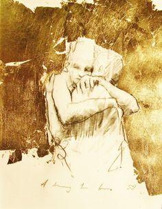 felixinclusis:  mydarkenedeyes: Guy Denning - A Drawing For Lovers (2013) (gold leaf ?)