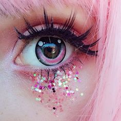 This is so pretty the contact looks like they is drawn in a manga style and the eyelashes are amazing and the glitter is such a nice touch!