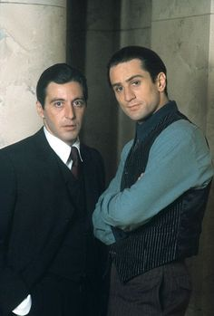 Al Pacino and Robert De Niro. Although they did not share any scenes together in The Godfather Part they both appeared in that film. De Niro as young Vito Corleone and Al Pacino as Micharl Corleone, the Don's son. The Godfather Part Ii, Godfather Movie, Hollywood Actor, Classic Hollywood, Gangster Movies, Cinema Tv, Fritz Lang, Photo Vintage, Kino Film