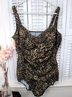 19cefde508b7f Trimshaper Leopard Print Brown Black Roched one piece bathing suit Plus size  20W  trimshapper