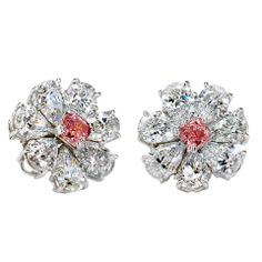 A Stunning Pair of White and Pink GIA Cert. Diamond Earrings