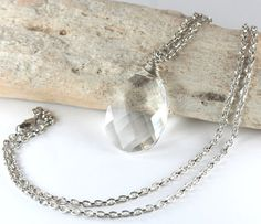 Long Silver Necklace with Large Briolette Swarovski by TheresaRose, $22.00