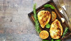 Lemon Rosemary Pork Chops or Chicken Over Butternut Squash Puree Pollo Y Waffles, Chicken And Waffles, Low Carb Menus, Low Carb Diet, Clean Eating Diet, Healthy Eating, Freezing Cooked Chicken, Baked Chicken, Chicken