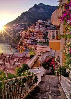 Evening in Positano,Italy . Positano is a cliff side Village on Italy's Amalfi Coast -By Italy-Landscape & art Dream Vacations, Vacation Spots, Italy Vacation, Vacation Packages, Vacation Food, Italy Honeymoon, Vacation Places, Italy Trip, Vacation Travel