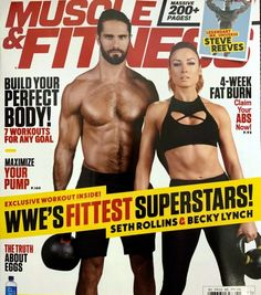 Becky Lynch & Seth Rollins on the cover of Muscle & Fitness Yoga Fitness, Muscle Fitness, Physical Fitness, Fitness Exercises, Stomach Exercises, Mens Fitness, Bed Exercises, Posture Exercises, Steve Reeves