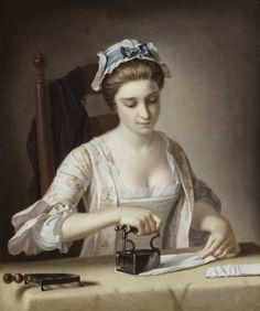 Henry Robert Morland 1716-1797 A Laundry Maid Ironing circa 1765-82. Not yet 19th century. Eroticized servant.