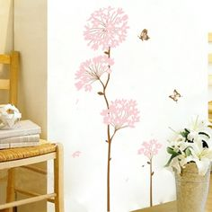Nursery Wall Sticker - Butterflies and Pink Blossoms  Only pink! If you're looking for something classic with a simple color scheme, this one is perfect for you! The baby pink blossoms perfectly match the brown tree trunk and brown butterfly. It's a long lasting wall sticker design with a feminine touch, which will suite either a girls room or anywhere else in the house.   FREE SHIPPING ON ORDERS OVER $30 WITHIN AUSTRALIA