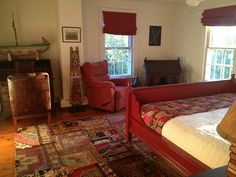 Elizabeth Gilbert's Victorian Frenchtown NJ For Sale... she admits to being a restless soul, so that's what they do. I m sure she and hubby will miss this funky bedroom. A mix of old and new for sure....