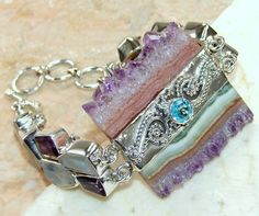 Amethyst Slice, Moonstone, Amethyst Faceted, Blue Topaz bracelet designed and created by Sizzling Silver. Please visit  www.sizzlingsilver.com. Product code: BR-7923