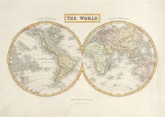 Original steel engraved map of the world with later hand colour. Published by A & C Black c. Antique Maps, Hand Coloring, Vintage World Maps, Colour, Steel, The Originals, Antiques, Black, Old Maps