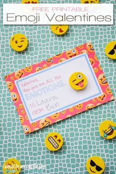 Free Printable Emoji Valentines   These free printable Valentines are perfect to pair with a pack of Emoji erasers for a fun pass-out!