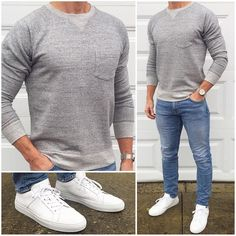 Sunday Chill Mode 😁👖👟 It's tough to beat a classic gray sweatshirt, crisp white sneakers, and light wash denim when you're chilling ❄️ on the weekend❗️ 🔥🔥🔥 Do you like this weekend outfit❓ Sweatshirt: Sneakers: Royale Blanco Denim: Chill Outfits, Mode Outfits, Jean Outfits, Sweater Outfits, Mens Jeans Outfit, Men's Jeans, Men Shorts, Mode Masculine, Mode Man