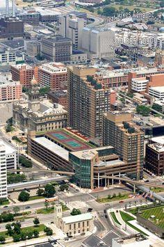 Millender Center with Mariner's Church in foreground, Detroit, MI