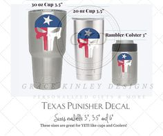 """YETI, RTIC, SIC Cup Decal - Texas Punisher Skull - for Cups/Coolers State of Texas 3"""", 3.5"""", and 6"""" available by GraceKinleyDesigns on Etsy"""