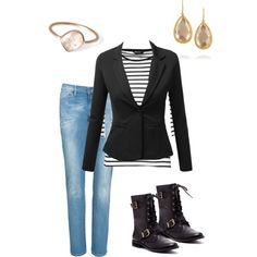 A fashion look from January 2015 featuring J.TOMSON blazers, Levi's jeans and Sole Society boots. Browse and shop related looks.