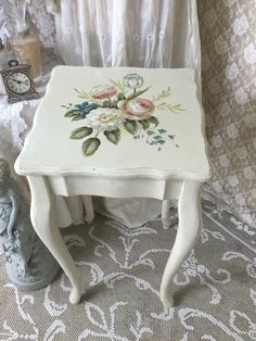 A personal favorite from my Etsy shop https://www.etsy.com/listing/449288834/shabby-painted-table-cottage-chic-end